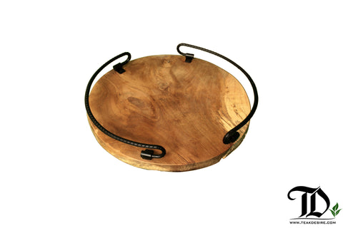 Round Wood Tray with metal handle - Serve drinks tea coffee whisky wine - EXCLUSIVE Design - Teak Desire