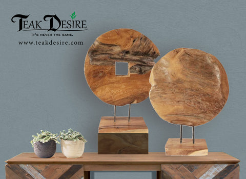 TEAK ROOT SOLID WOOD ROUND ART DECOR WITH SQUARE / ROUND HOLE - SIDEBOARD, TABLE, HALLWAY, FIREPLACE DISPLAY PIECE - Teak Desire - Teak Desire