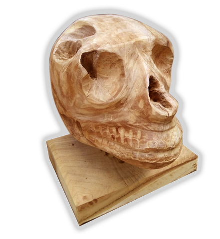 Wood Skull Sculpture - Reclaimed Teak - Display Piece Decorative - Teak Desire