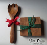 Salad Fork & Spoon Set - Teak Wood - Teak Desire
