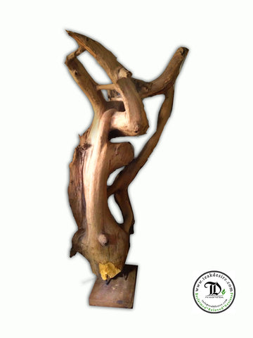 Reclaimed Teak Root Wood Art Decor on Stand - Sculpture Showpiece - 145cm to 160cm - Teak Desire