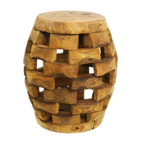 Barrel Stool Teak Root Solid Wood Side Table, Accent Table, End Table, Tea Coffee, Sofa Side Table Kendang - Teak Desire