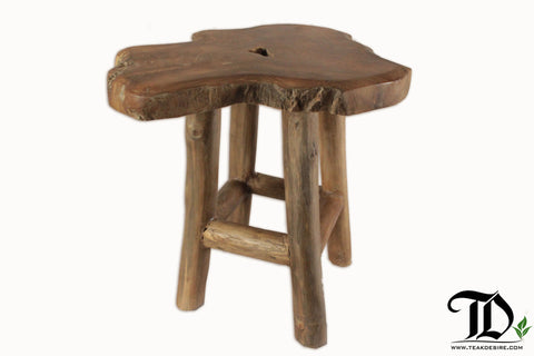 Teak Root Solid Wood Side Table, Treetop, Accent Table, End Table, Tea Coffee, Sofa Side Table - Teak Desire