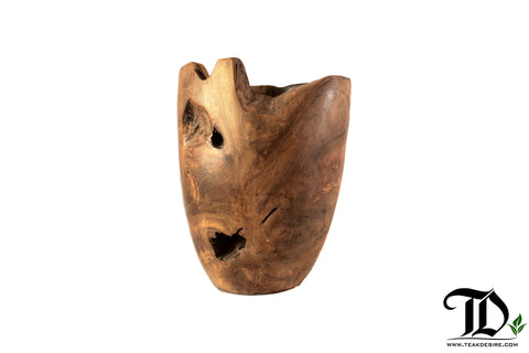 Teak Root Solid Wood Oval Flower Vase - Decorative Display Showpiece Indoor Outdoor - Teak Desire