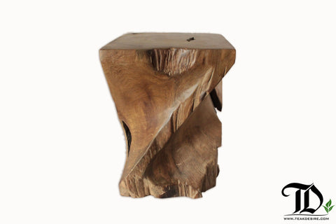 Prime Z Twist Stool Teak Root Solid Wood Side Table Accent Pabps2019 Chair Design Images Pabps2019Com