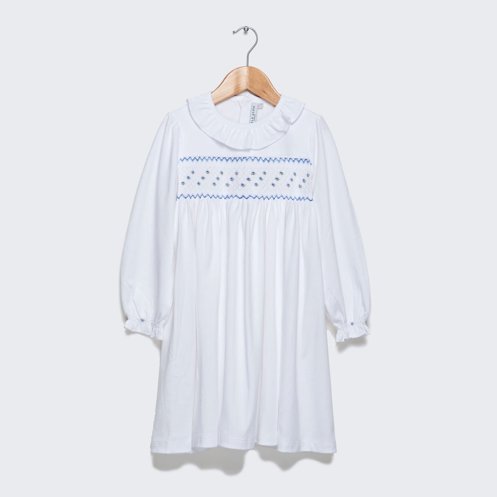 Long Sleeve Nightie - Blue smocking