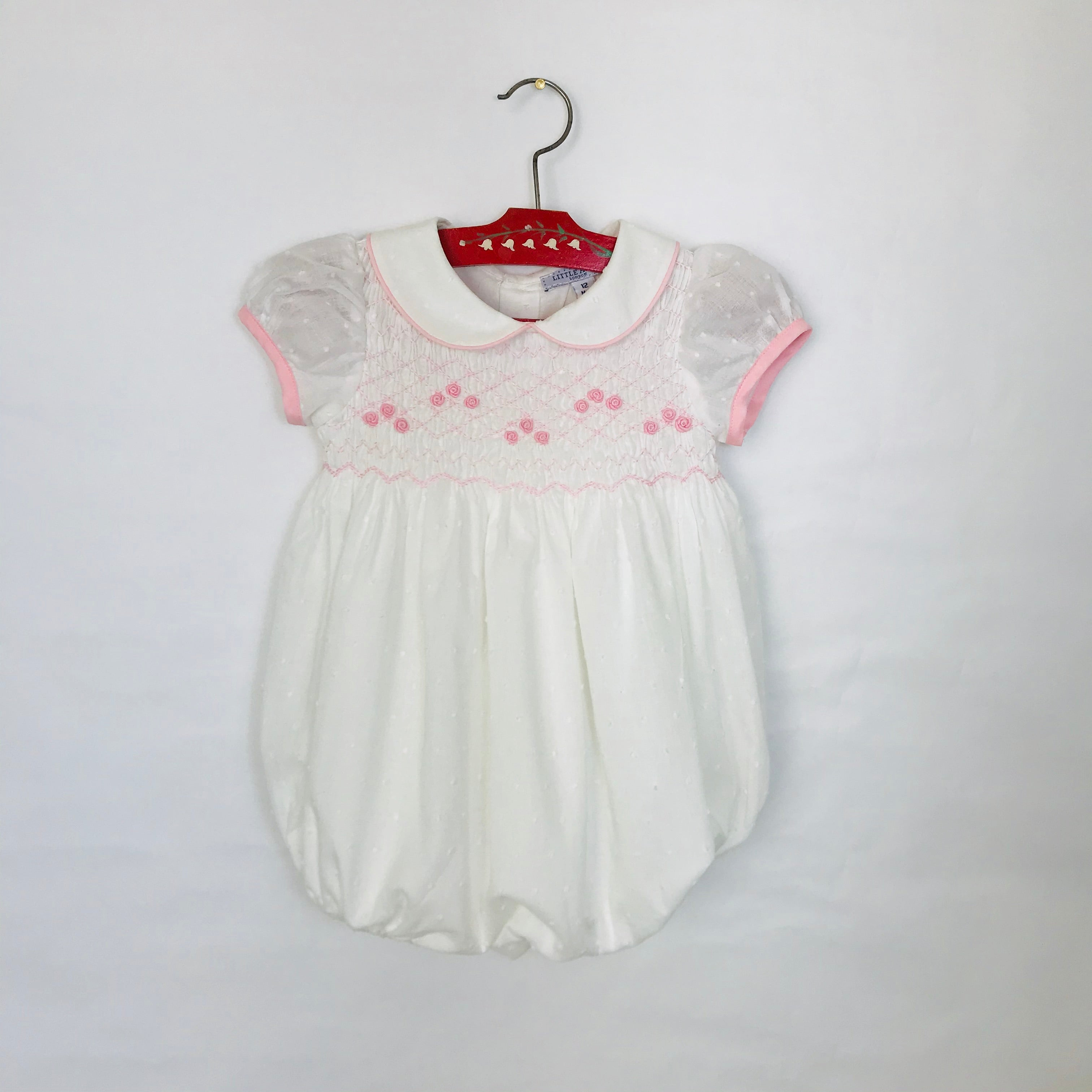 Gypsophila Romper with pink smocking