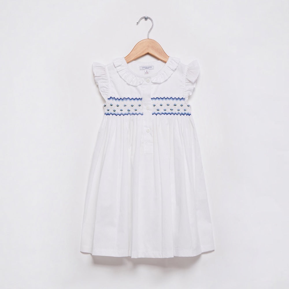 Smocked Short Sleeve Nightie - Blue
