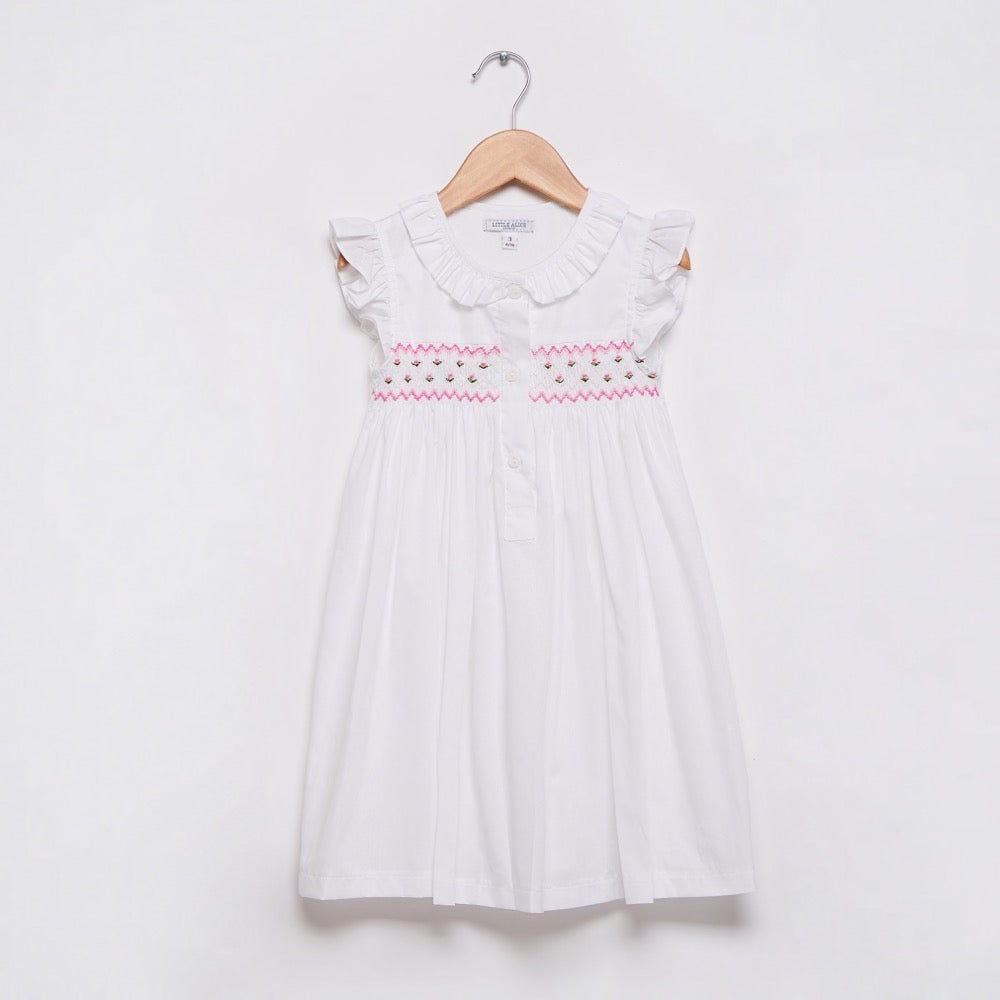 Smocked Short Sleeve Nightie - Pink