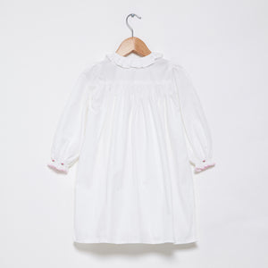 Smocked Long Sleeve Nightie - Pink