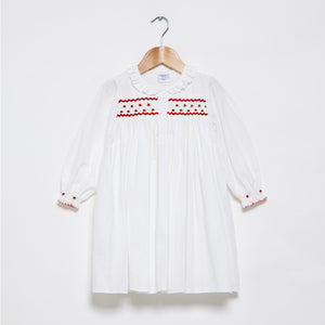 Smocked Long Sleeved Nightie - Red