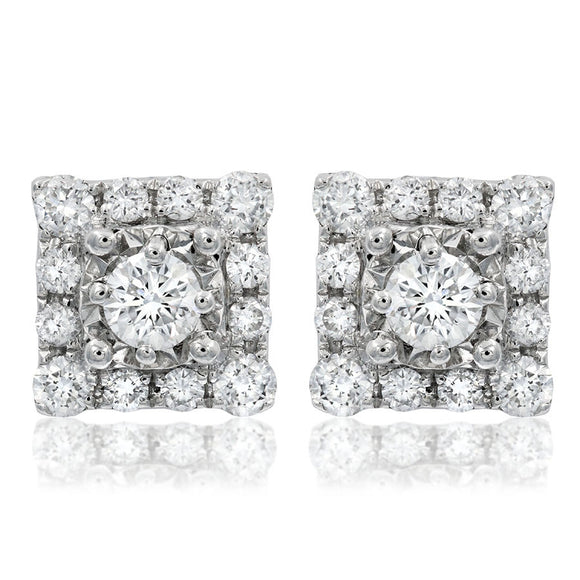 shaped diamond back gold round earrings square screw white zoom stud o