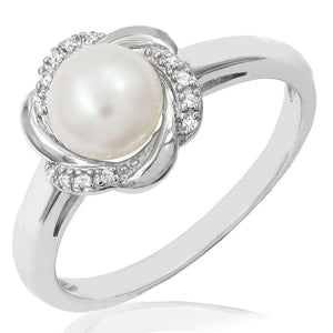 207b925a3b356a Floral Pearl Ring with Diamond Accent – J Nuevo