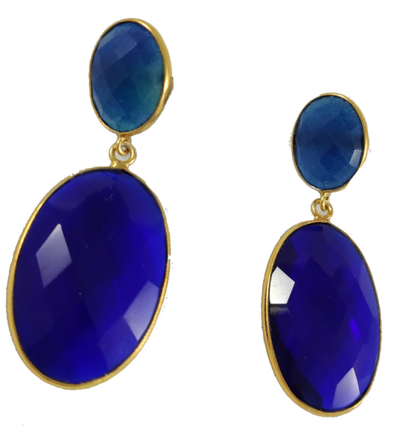 Hydro blue topaz & Lapis lazuli earrings
