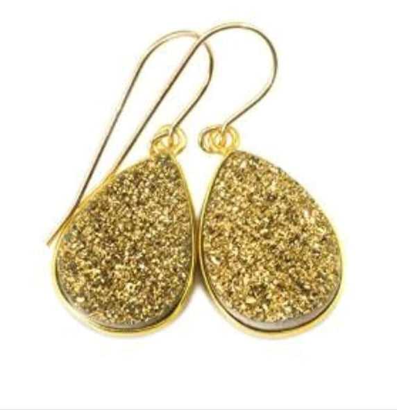 Golden druzy earrings
