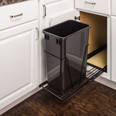 Single Pullout Trash Can System & Cabinet Door Mounting Kit in Black