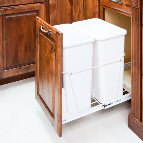 35 Quart- White Double-Trash Can Pull-Out System with White Cans & Doorkit, Cabinets, Unbranded, Select My Cabinetry, Kitchen cabinets, Philadelphia cabinets, Discount kitchen cabinets, Buy Kitchen Cabinets Online,