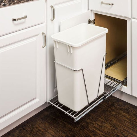 Single Pullout Trash Can System & Cabinet Door Mounting Kit in Polished Chrome