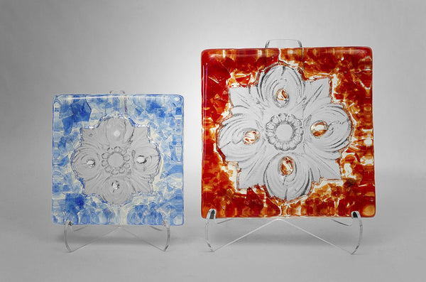 San Antonio City Logo Rose Window Glass Tile in red and light blue colors