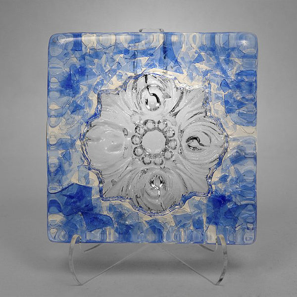San Antonio City Logo Rose Window Glass Tile in light blue color