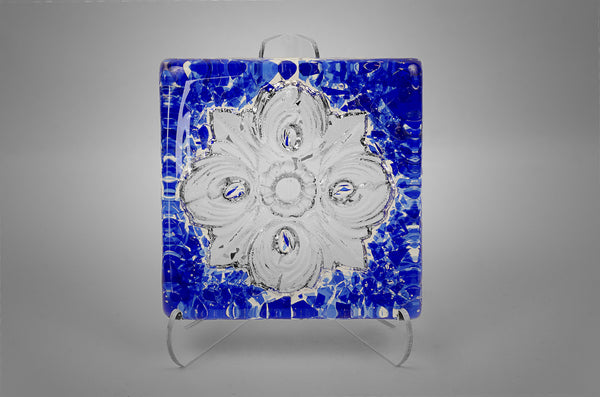 San Antonio City Logo Rose Window Glass Tile in cobalt blue color