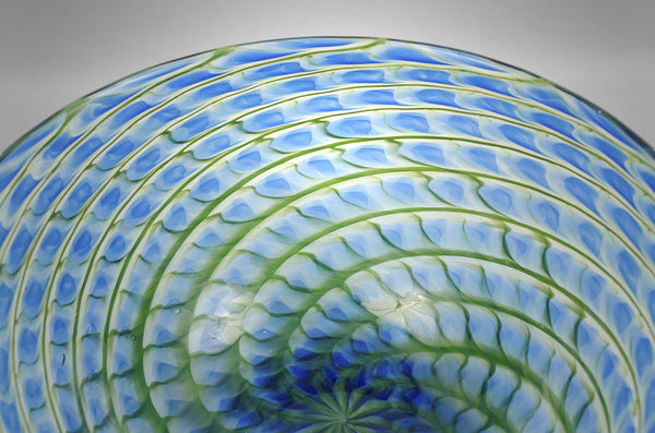 Glass Pineapple Fibonacci bowl in blue and green colors (detail)