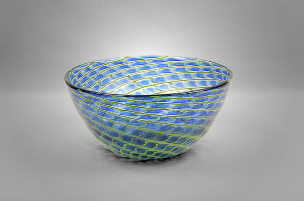 Glass Pineapple Fibonacci bowl in blue and green colors