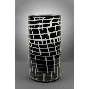 Black vase with vertical and horizontal stripes