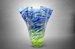 Green and blue basketweave twisted fluted vase