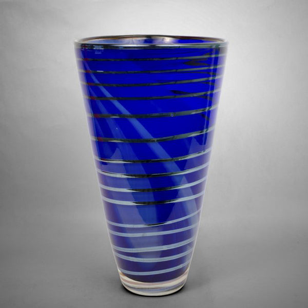 Blue marbelized Iris Gold vase with silver spiral