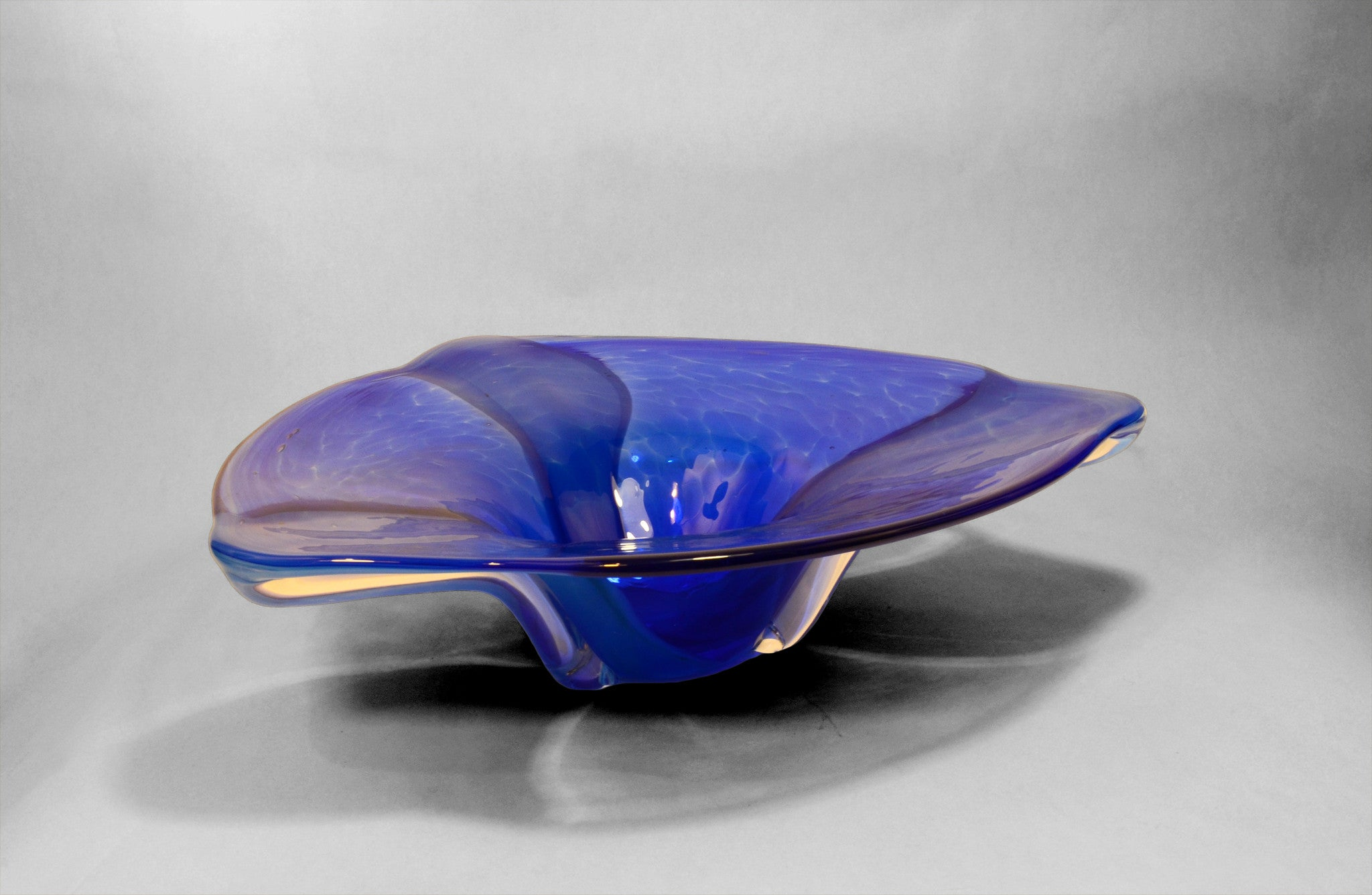 Blue triangular shaped murano bowl (side view)