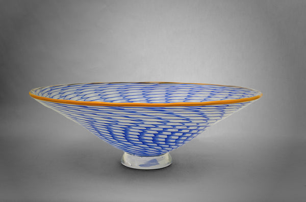 Glass Pineapple Fibonacci bowl in blue and white colors with orange rim (side view)