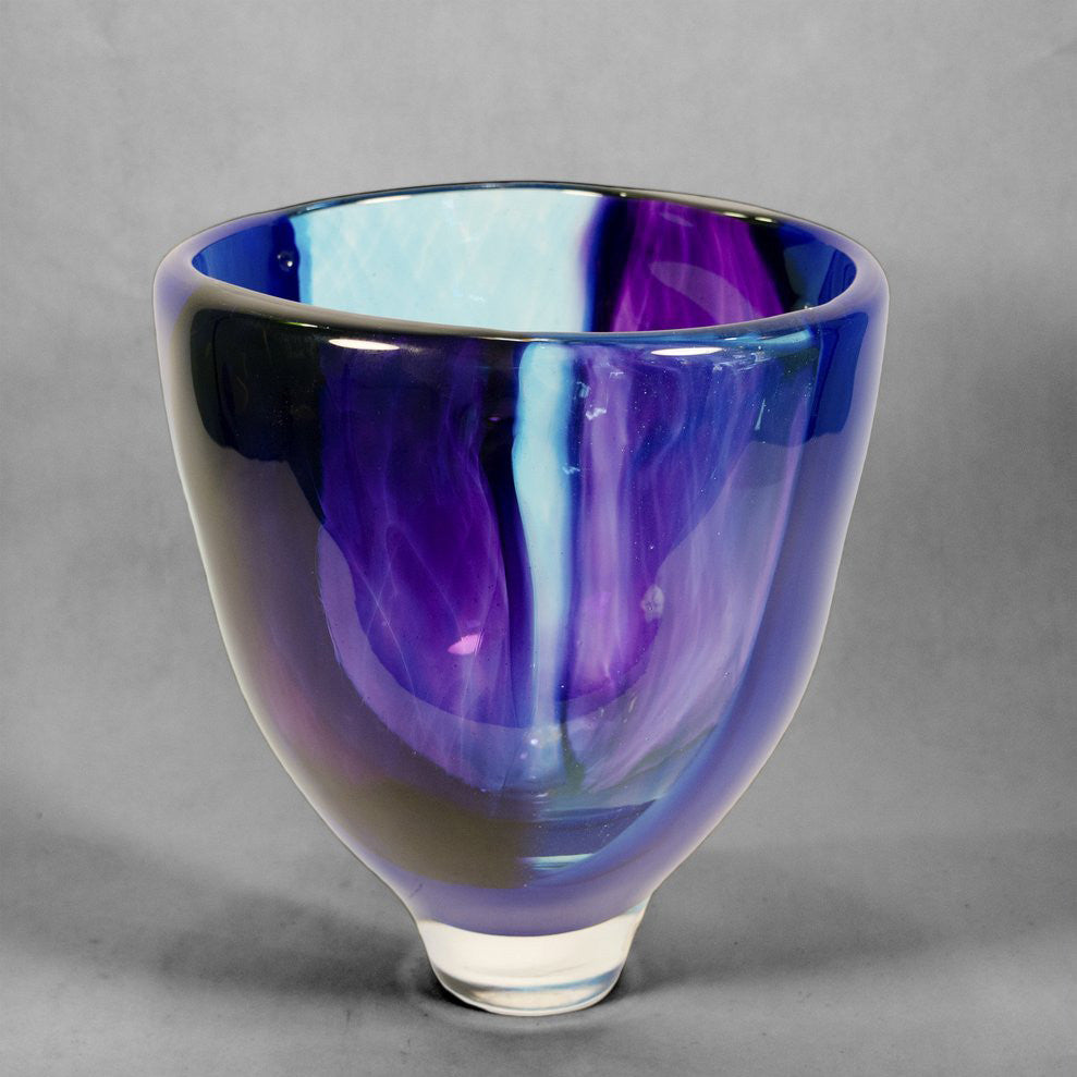 Brushstroke vase / bowl in blues and purple