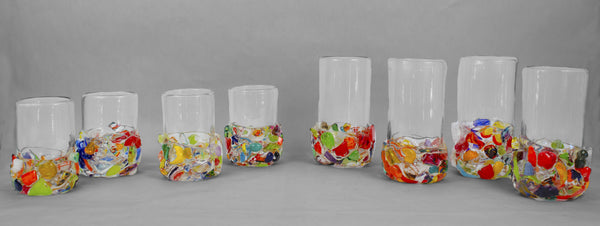 Multi-colored chunks on base with clear glass - set
