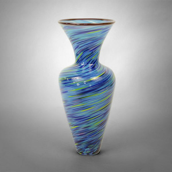 Classical shaped small vase in spirals of blue and yellow colors