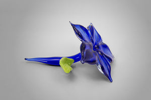 Small unique handmade glass accent flower in cobalt blue color - side view