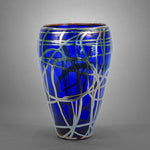 Cobalt blue tapered vase with iris gold (silver) swirls