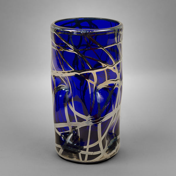 Cobalt blue Picasso drinking glass with silver swirls