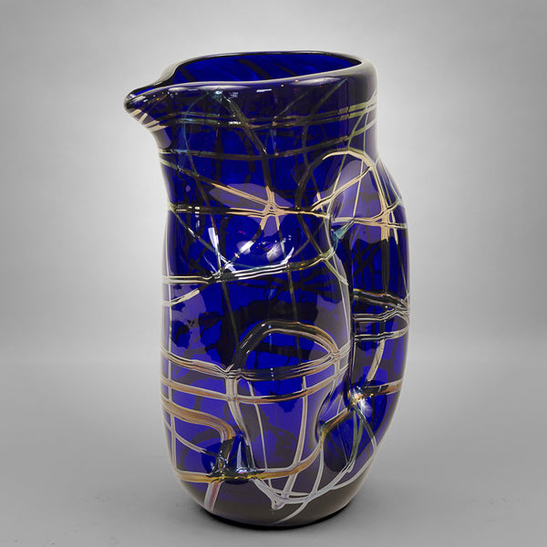 Cobalt blue Picasso drinking pitcher with silver swirls