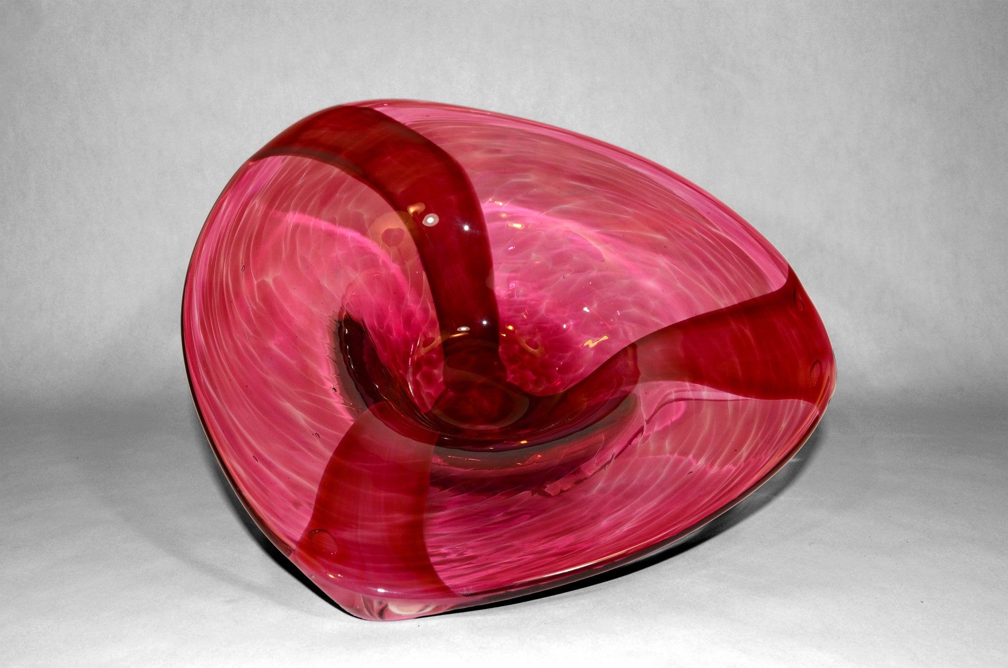 Ruby triangular shaped murano bowl