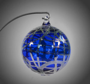 Dancing Silver and Cobalt Ornament