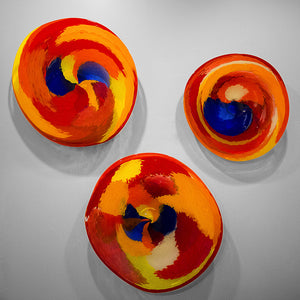 Large Expressions hanging wall platter collection in cobalt blue, red, orange & yellow