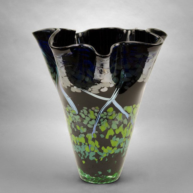 Black hand blown glass fluted nature vase with blue, green and silver