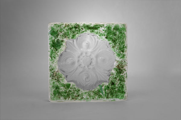 San Antonio City Logo Rose Window Glass Tile in green color