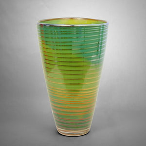 Green marbelized Iris Gold vase with silver spiral
