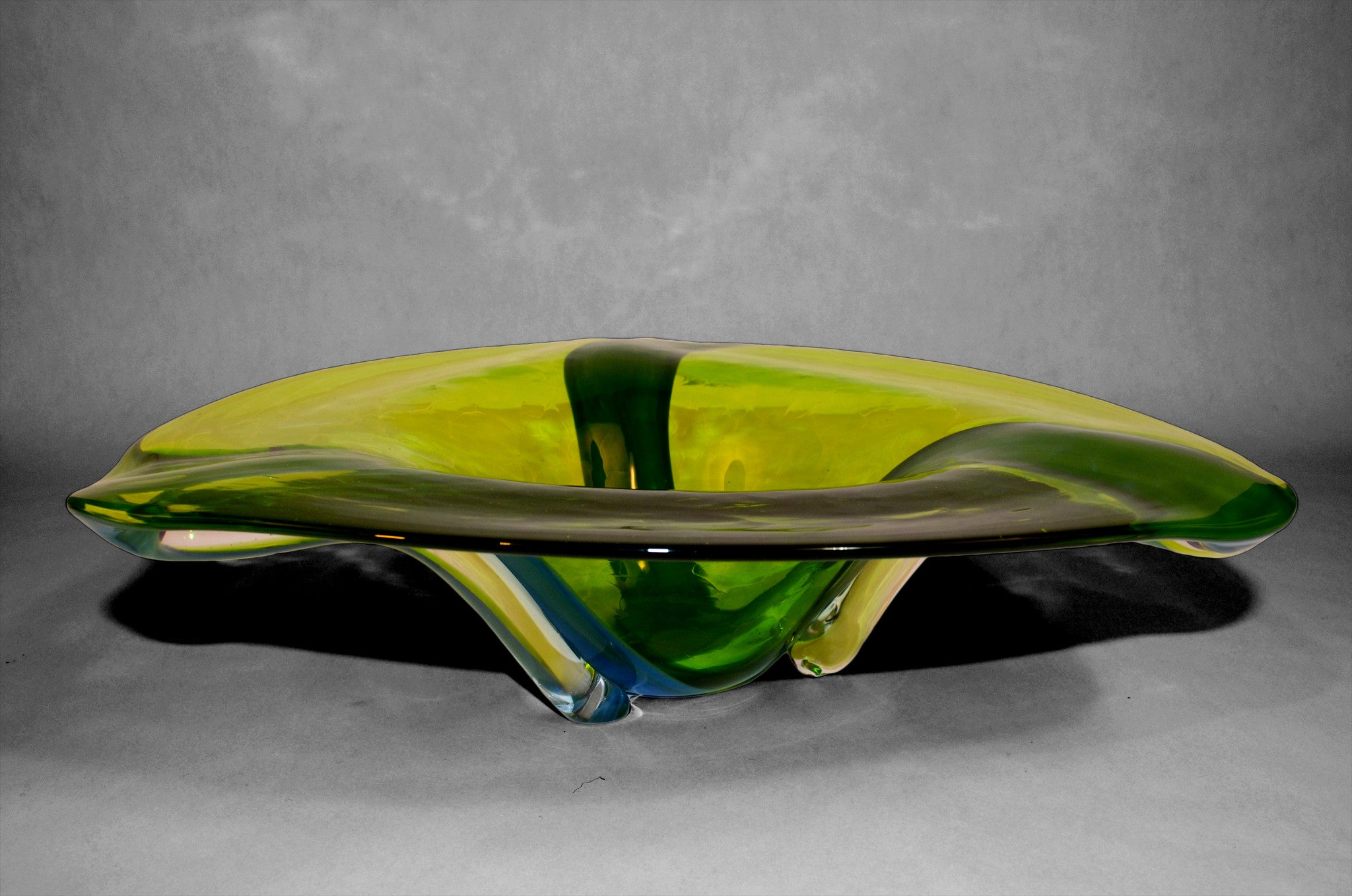 Green triangular shaped murano bowl (side view)