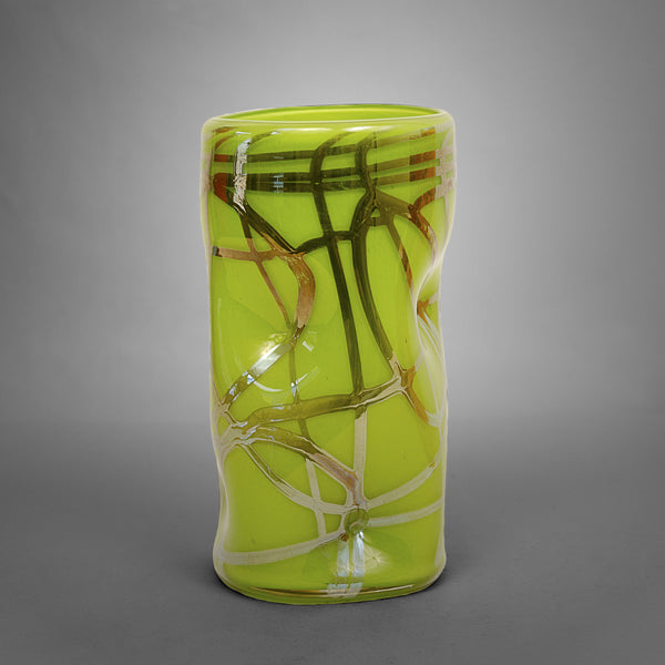 Lime green Picasso drinking glass with silver swirls