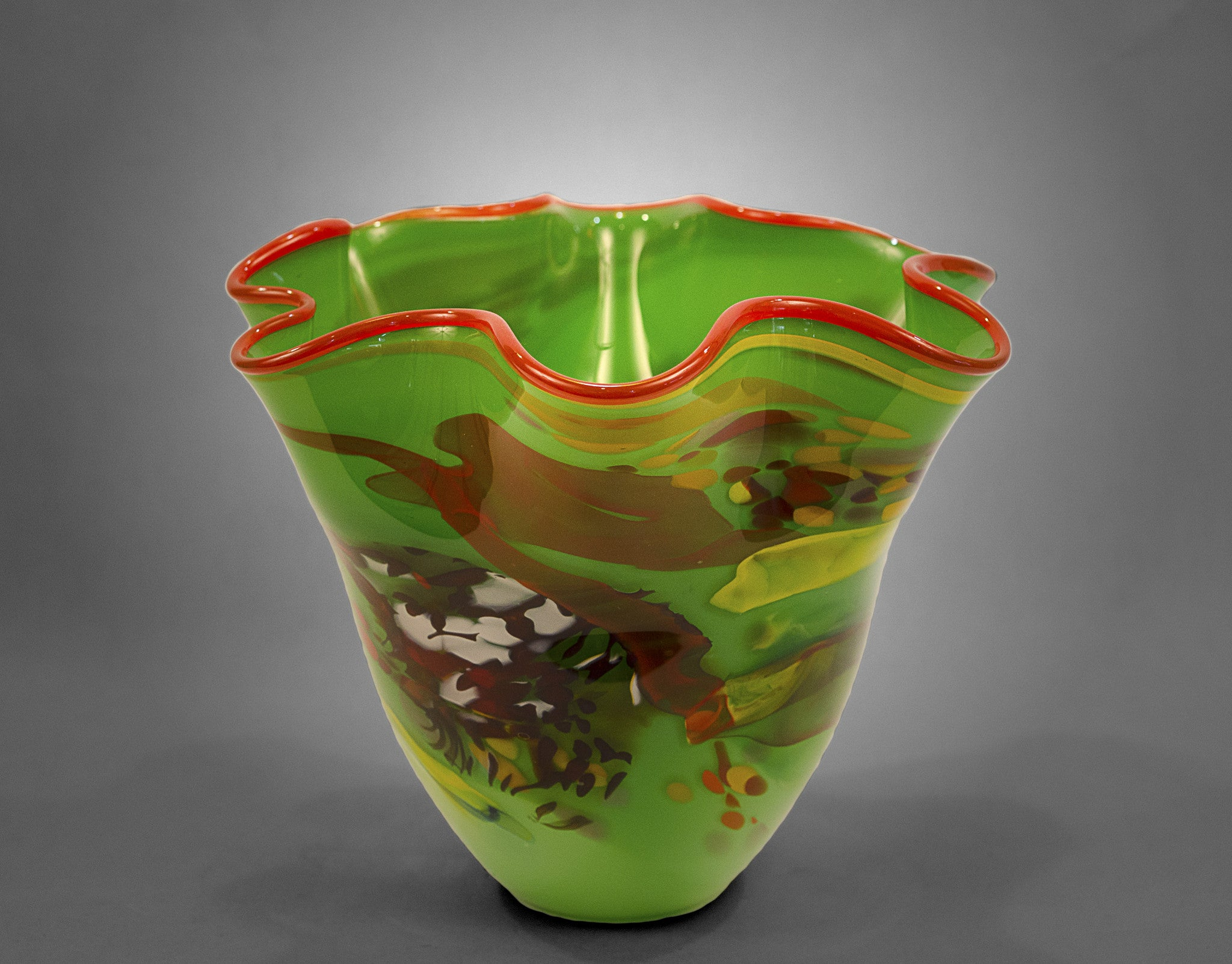 Fluted bowl / vase with broken shards of recycled glass and green base color and red rim