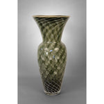 Glass Pineapple Fibonacci vase in black colors with tan rim