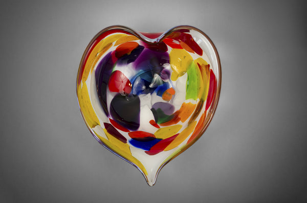 Multi-colored heart shaped bowl with Iris Gold (silver) rim